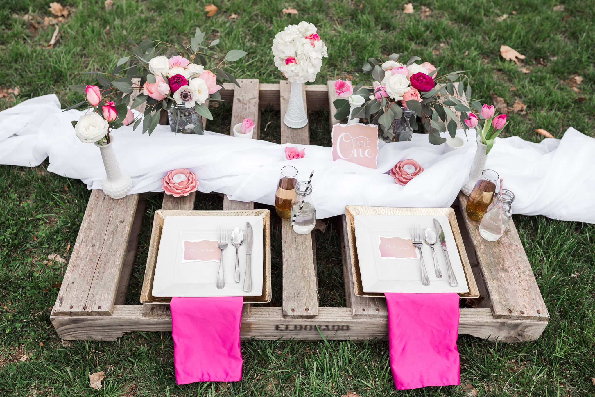 wedding table setting on top of pallet
