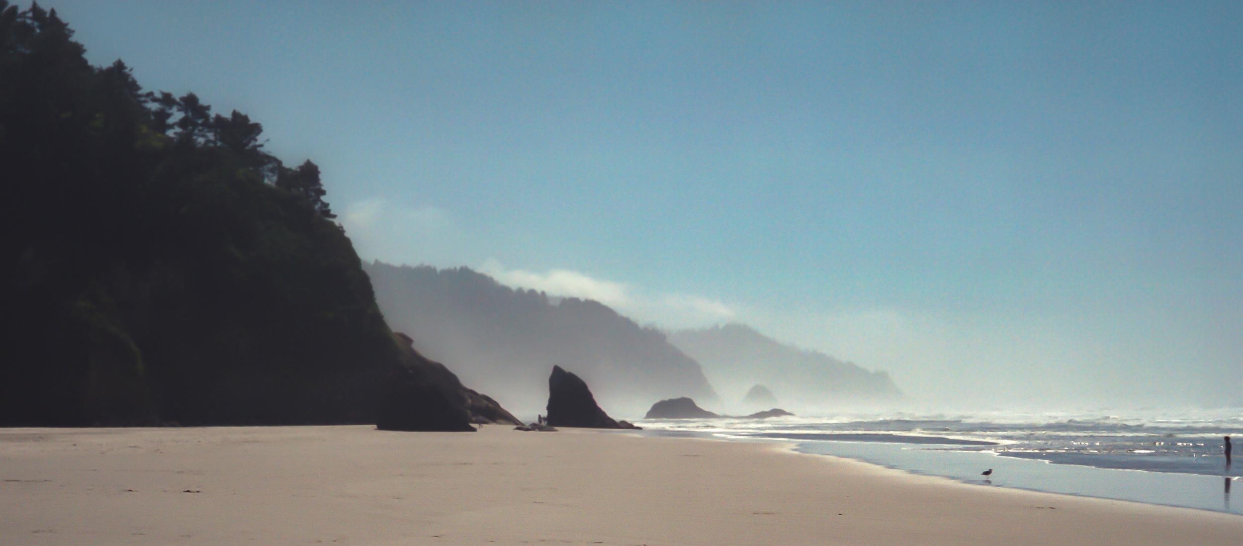 Cannon Beach, Oregon. August 1989. Restored from damaged Kodak Gold 200 35mm film negative.