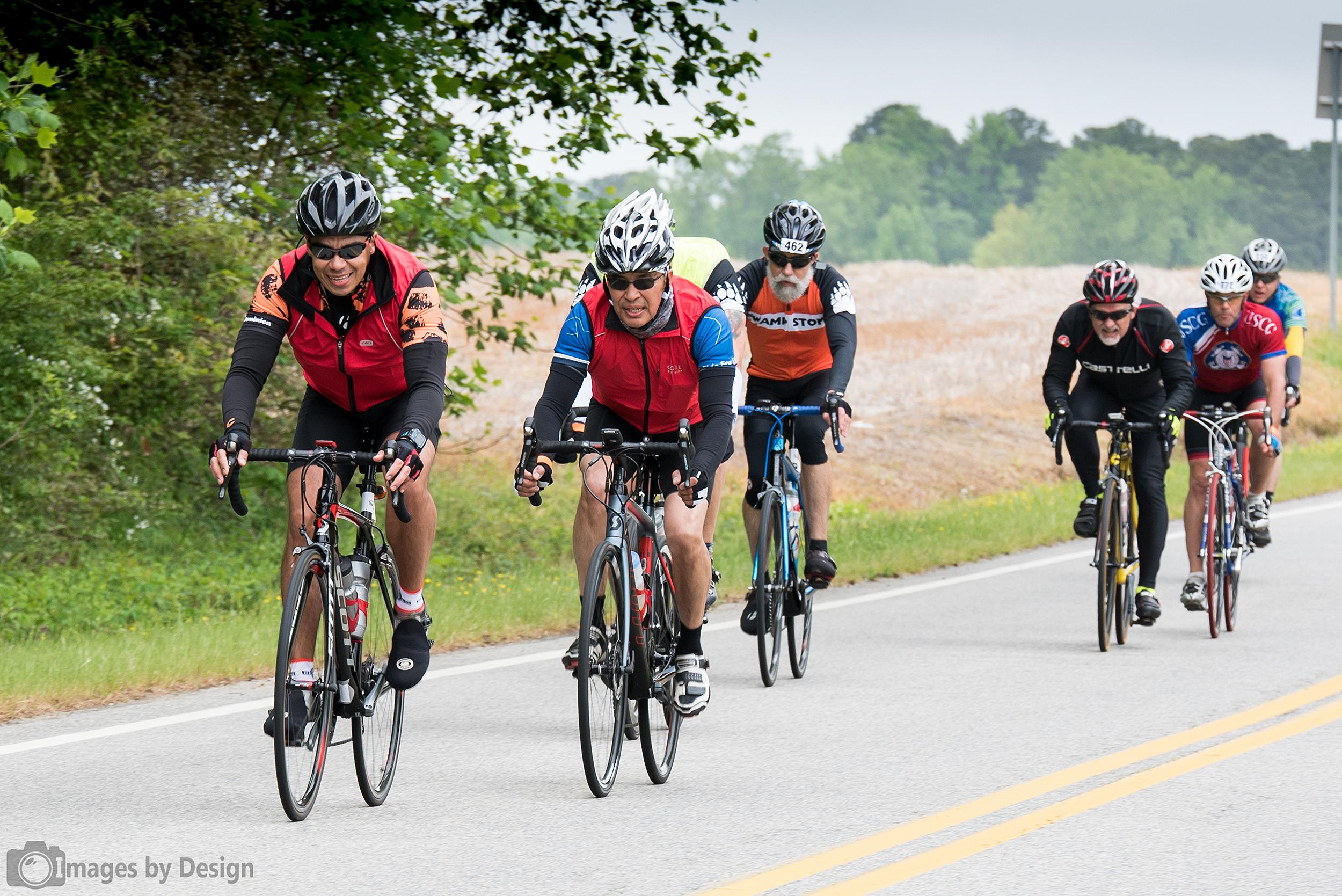 Fast riders along the 100 mile course - Tour du Cure Hampton Roads 2016
