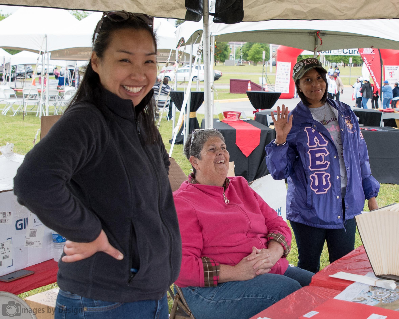 Volunteers working the registration table - Tour du Cure Hampton Roads 2016