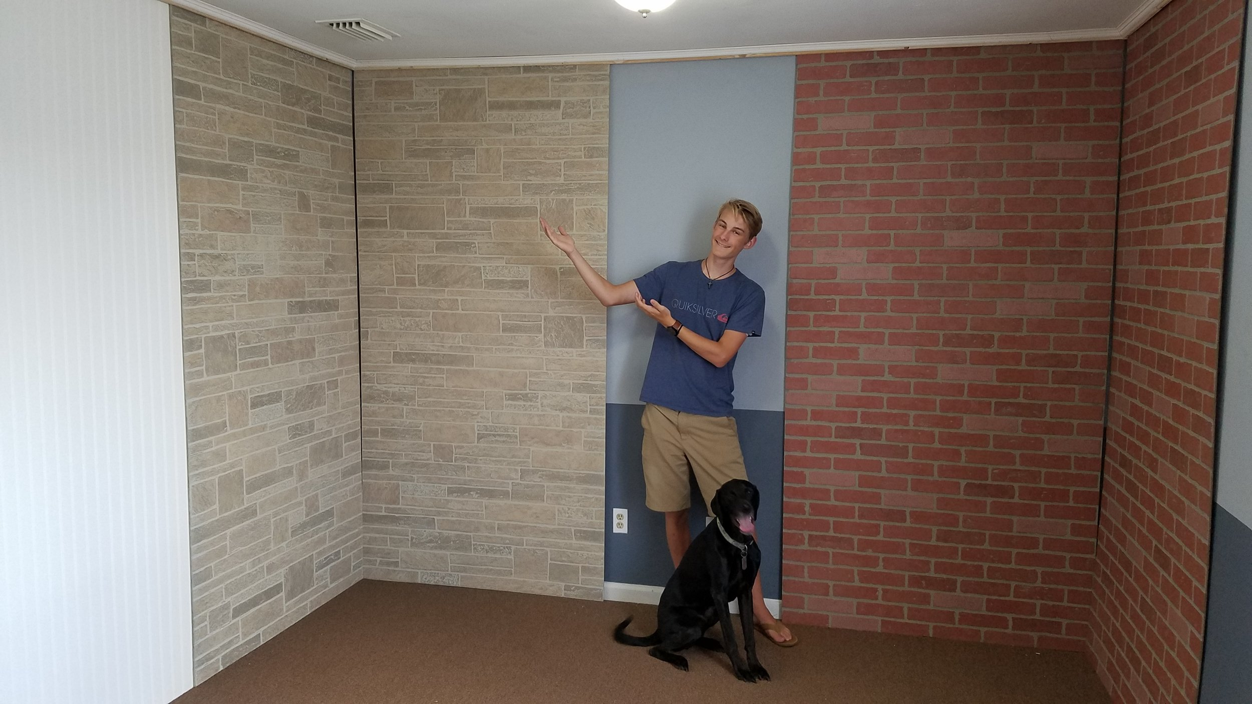 "Ryan and Beau helped me with this ""floating"" crown molding so I can move these backdrop panels around in the small portrait studio space."