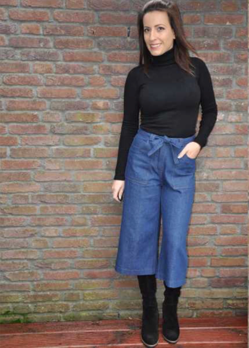 tanner culottedesigner stitch  - Culottes are a wardrobe must. This pattern is a wide leg cropped jean. Style it like designer stitch have with a roll neck jumper and boots, we think this would style would look even more fabulous with a fur coat too! This fab pattern can be made in sizes uk 6 - 26. The Tanner features natural waist fit, 4 pockets, zip fly & button fastening, belt looped waistband and an optional cropped frayed leg. If your not wanting to make these in denim there is many more fabric choices - see the Designer stitch website below for more.