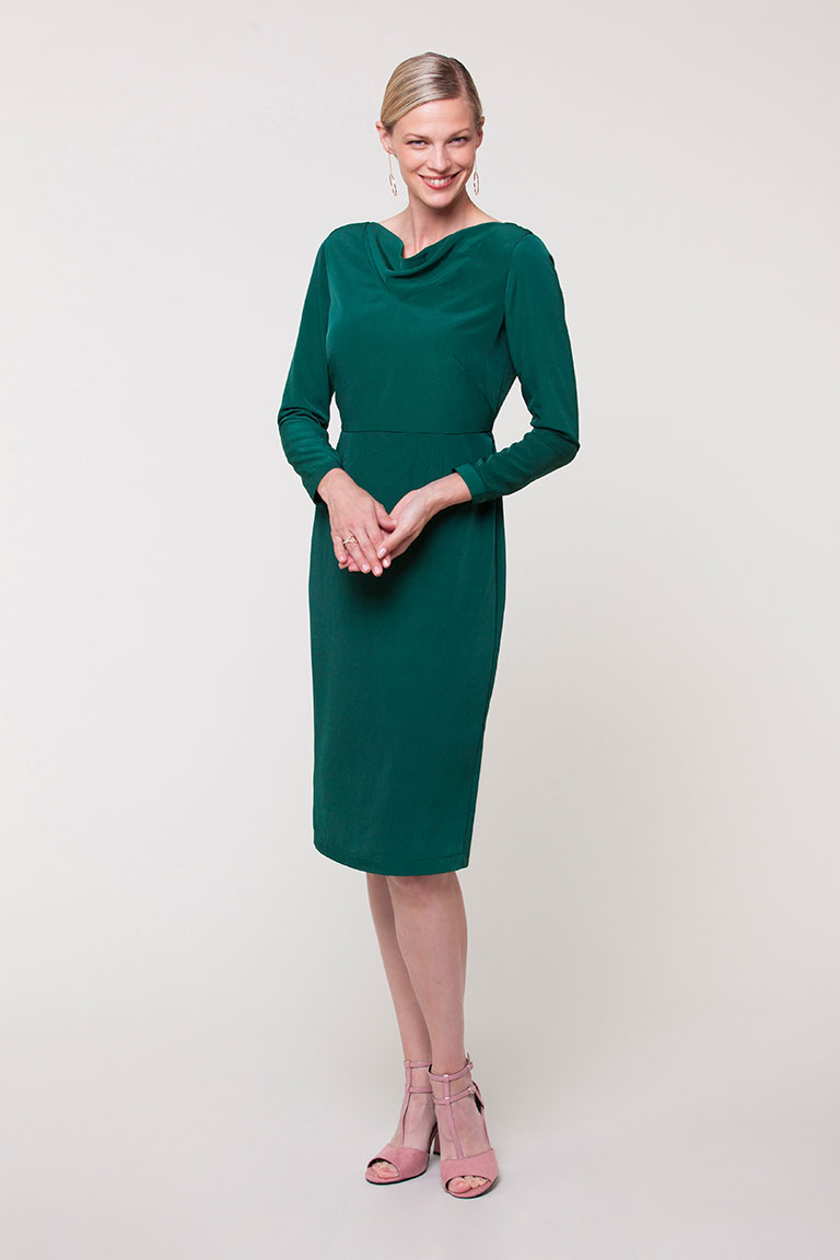 claudettecolette patterns  - Wow, isn't this dress so chic and sophisticated! All versions of this dress pattern features a lined, fitted bodice and a fitted mid-length skirt. There are two fab versions of this pattern so there is something to suit everyone.      Version 1 has a scoop neckline, long fitted sleeves with a continuous lap placket and cuff, and princess seams. The skirt of the dress features cluster darts and a kick pleat at the center back hem.       Version 2 has a v-neckline, ruffle cap sleeves, and French darts. The skirt on this version is slightly different with waist darts and a kick pleat at the center back hem.