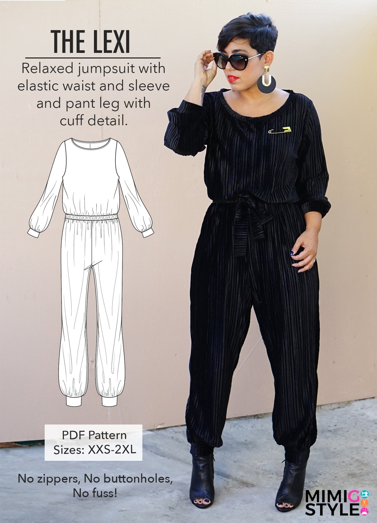 the leximimi g style in colabwith sew sew def  - We love this comfortable yet stylish jumpsuit from Mimi G. This is a PDF pattern for you to print off at home or there is a great print shop ready version so you can have it printed for you! This is a relaxed fit jumpsuit with an elasticated waist sleeve and trouser cuffs.