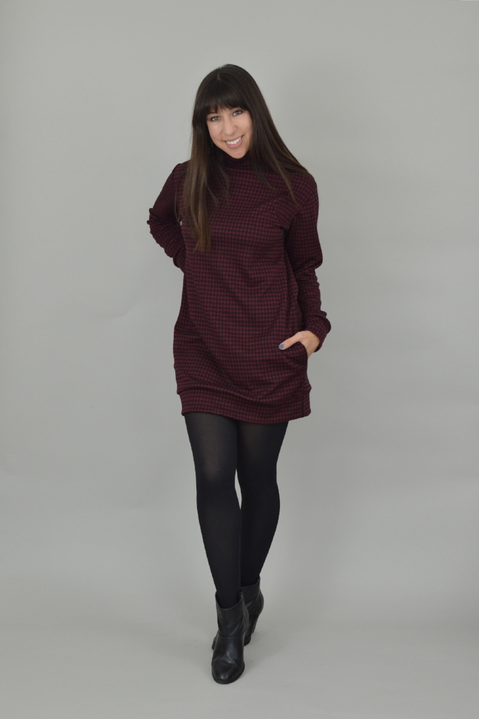 southbank sweaternina lee  - Your winter go to! The Southbank sweater pattern can be made in three different versions to suit any outfit. Each version has long slouchy comfortable sleeves! It can be made in three different lengths - Version 1 is a fab sweater dress, team up with tights and boots. Version 2 is a hip length jumper perfect for wearing with jeans and version 3 is a cropped jumper which falls just above the natural waist.