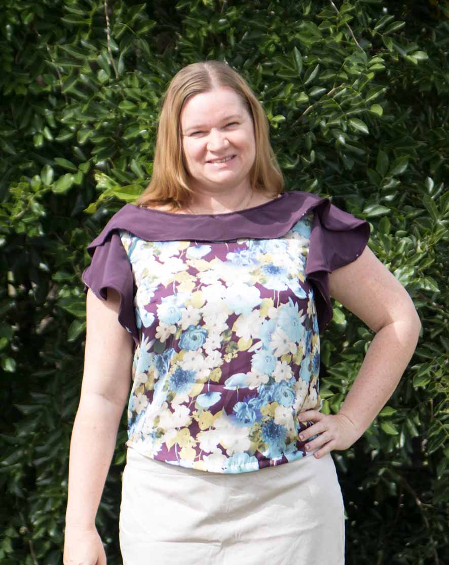 """Katrina Dingley - """"It's a feminine and flattering pattern that can be dressed up for a special occasion, worn to work or in a casual environment. The two choices give different views and allow a garment that is a quick sew for one or a little more detailed for the other.Designer Stitch patterns are always well constructed and look great on!"""""""