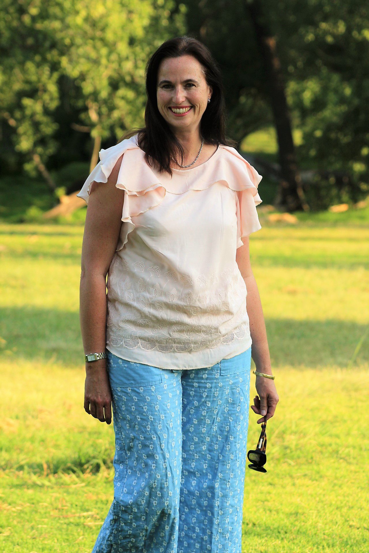 """Genevieve Grossmann - """"I'm totally in love with the femininity and softness of this top. The construction of the flounce is just brilliant, and able to make the most beautiful top, which actually fits me. As a busy mum, I love that I can wear this and feel nice, it's such a winner for me."""""""