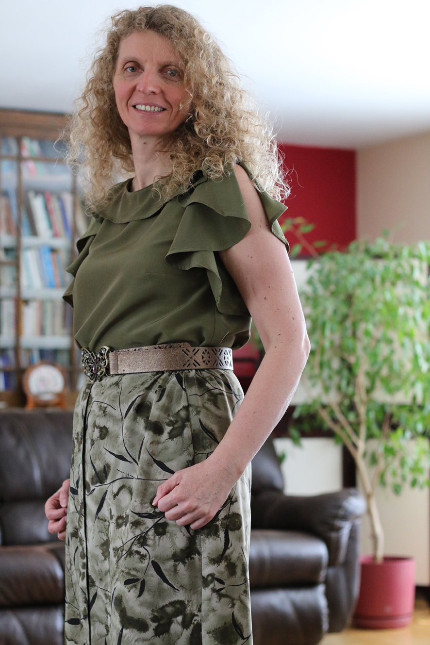 """Jenny Bowen - """"I used a silky polyester that has a really nice drape to it, which works well on the ruffles on this blouse. I really liked the line drawing when it was first saw it but I was not prepared with how flattering this top would be when I put it on! Ann never ceases to amaze me with her keen sense of design and wonderful drafting."""""""