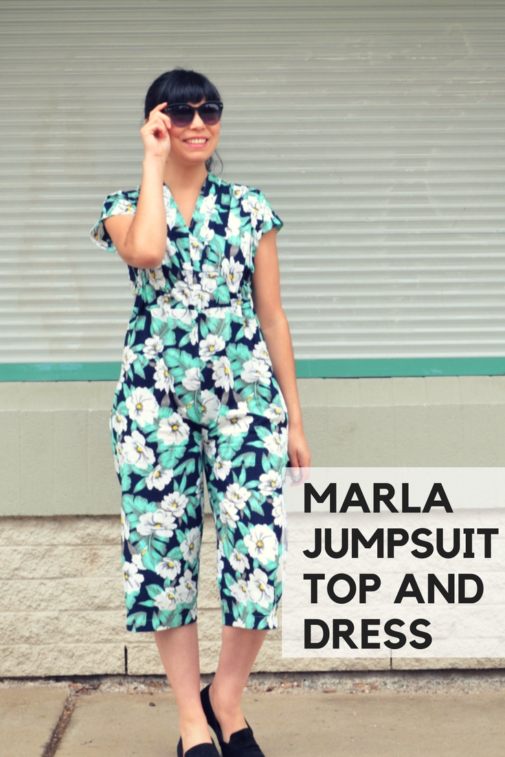 Marla jumpsuit, top and dress pattern from DG Patterns