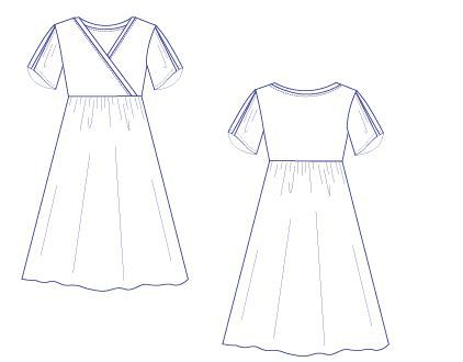 Clare dress technical drawing - DG Patterns