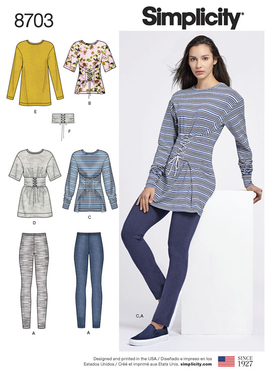 Simplicitiy 8703 knit tops with corset lacing