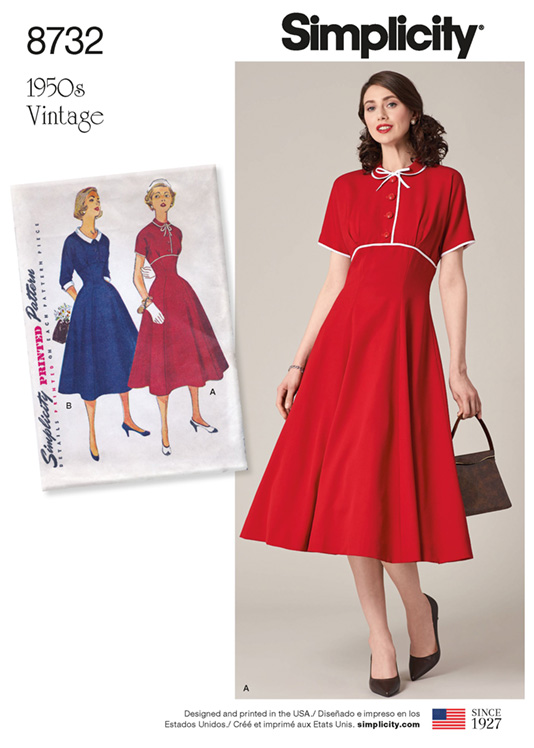 Simplicity 8732 gored skirt vintage dress