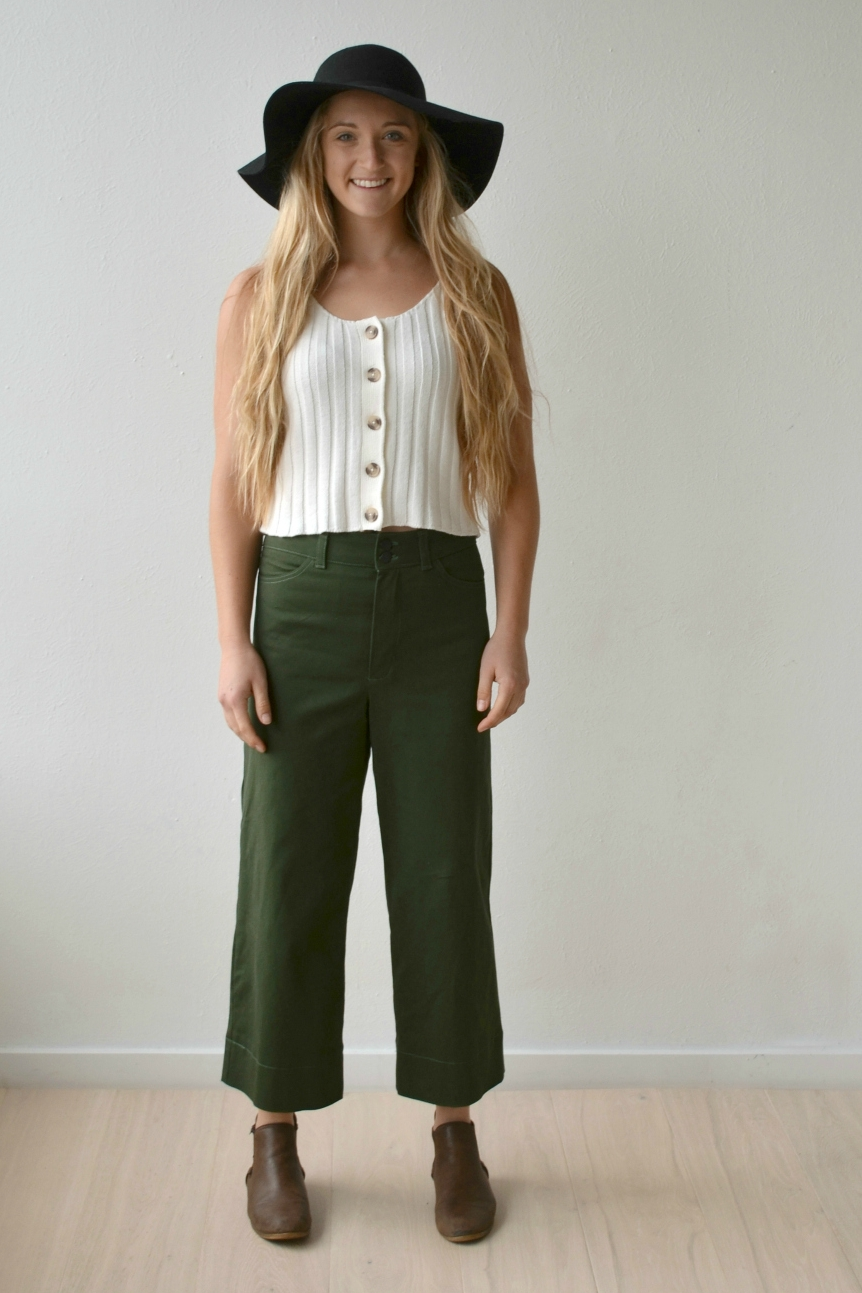 Kendrick Overalls crop trouser sewing pattern from Hey June Handmade