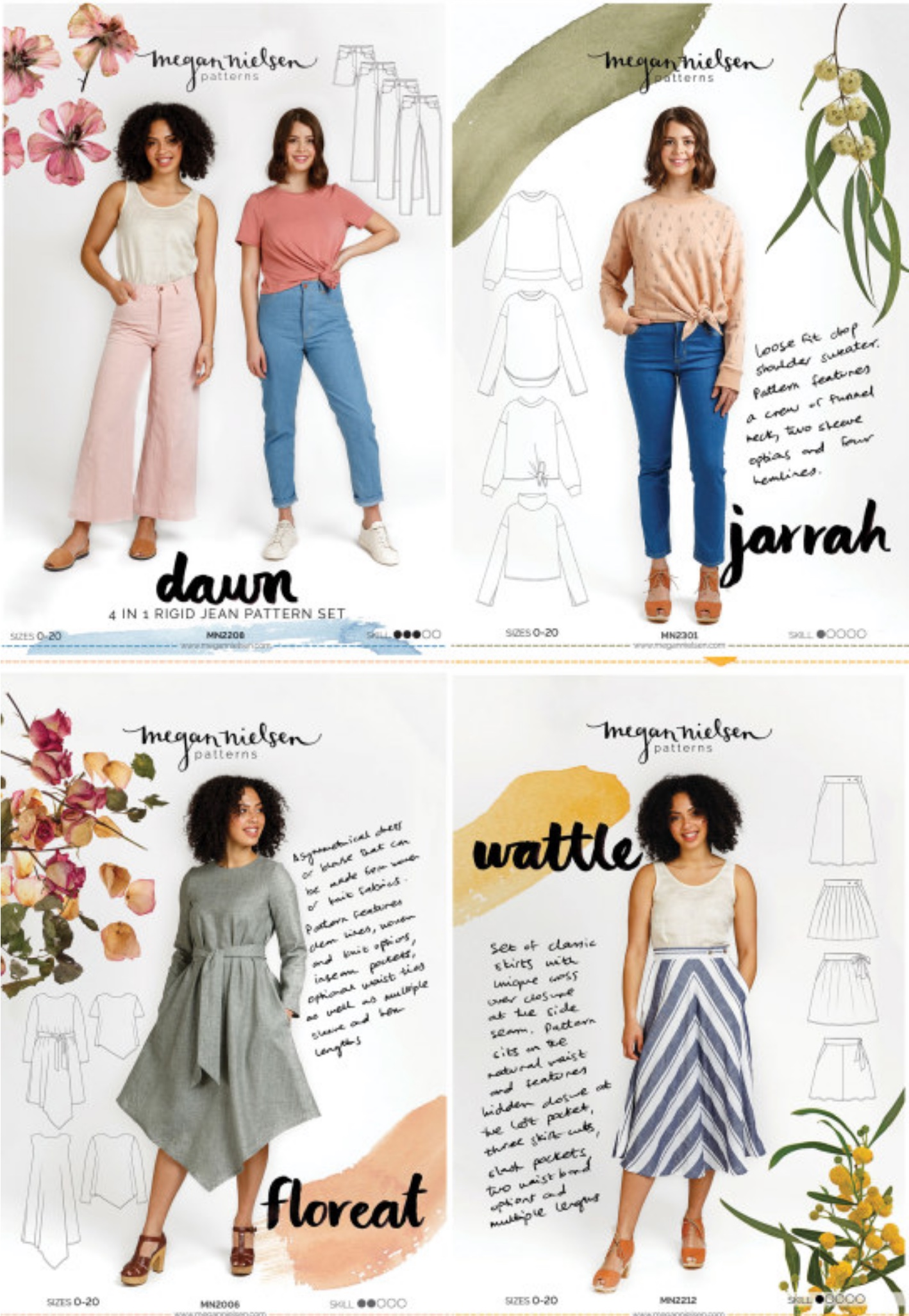 A mini collection of four new sewing patterns from Megan Nielsen