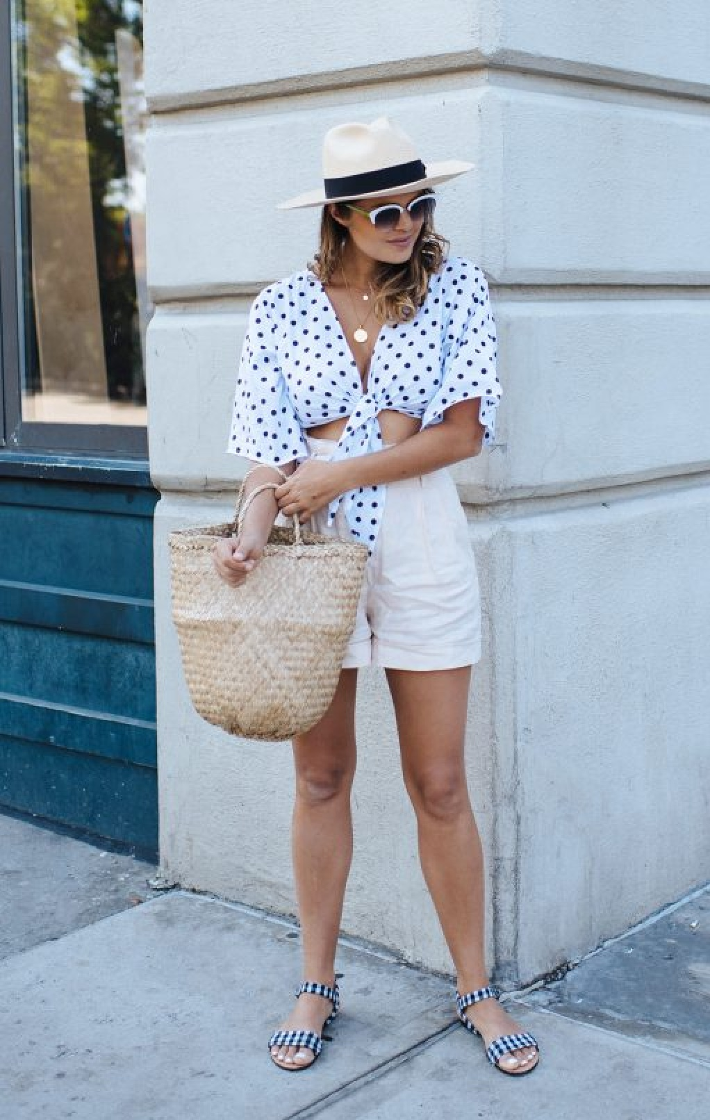 Polka Dot Tie Front Top from A Pair & A Spare