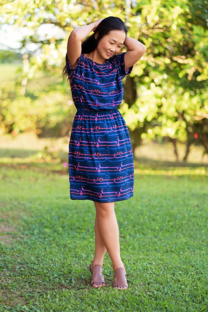 Melrose top and dress sewing pattern from Itch to Stitch