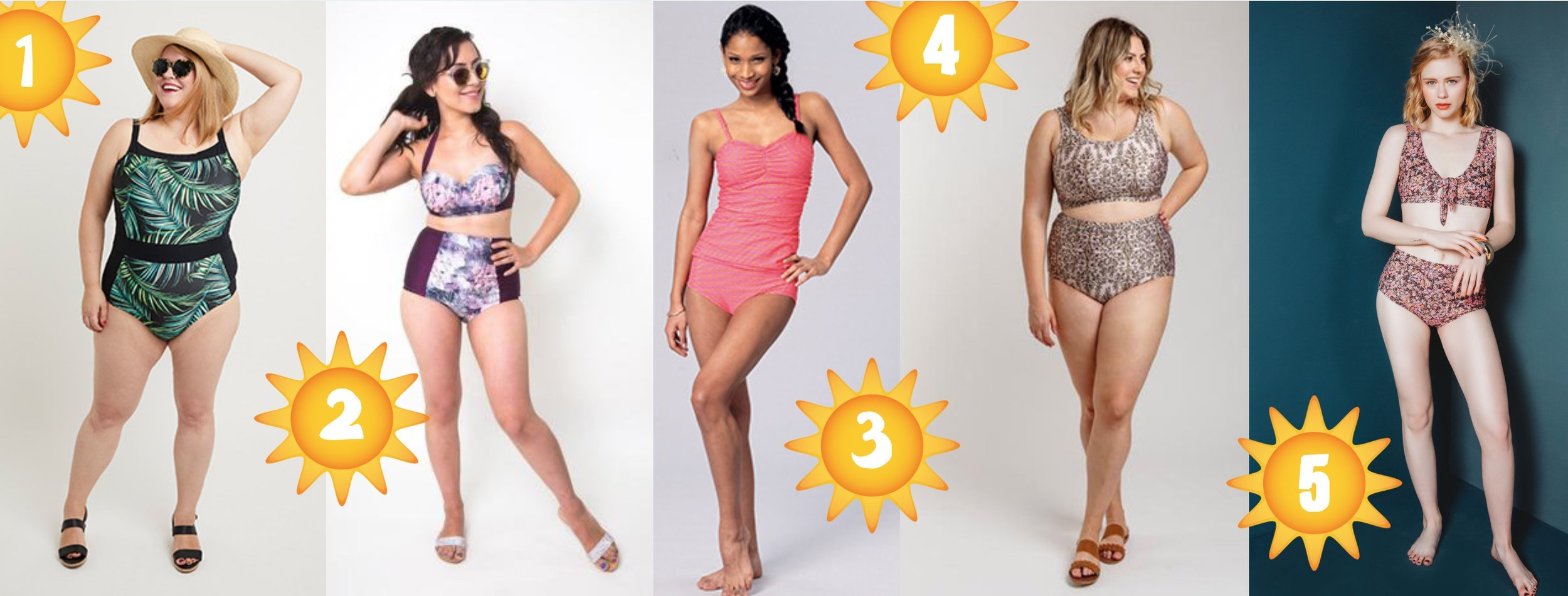 Five swimsuit sewing patterns