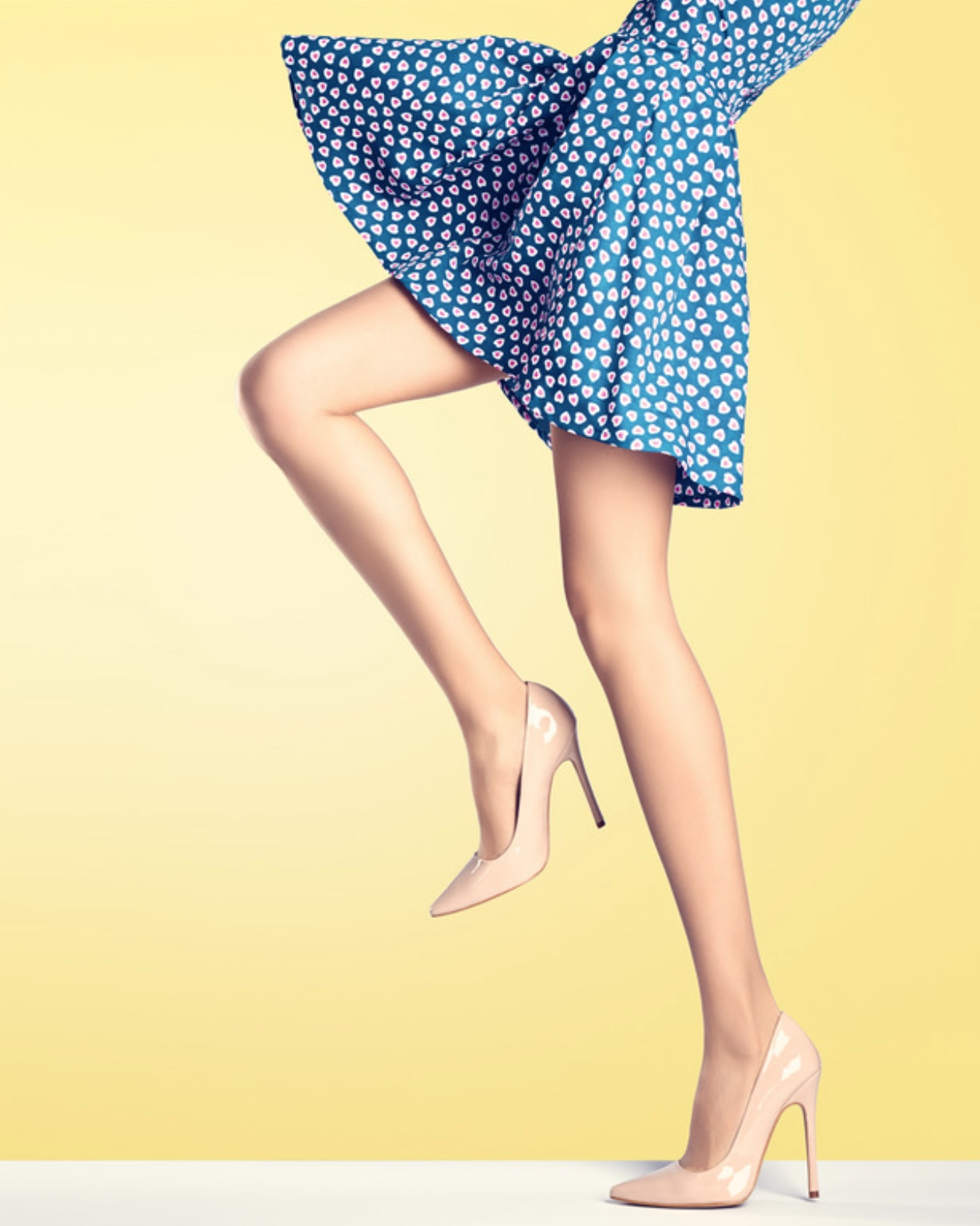 Always wear the heels you plan to wear with the skirt when measuring a hemline