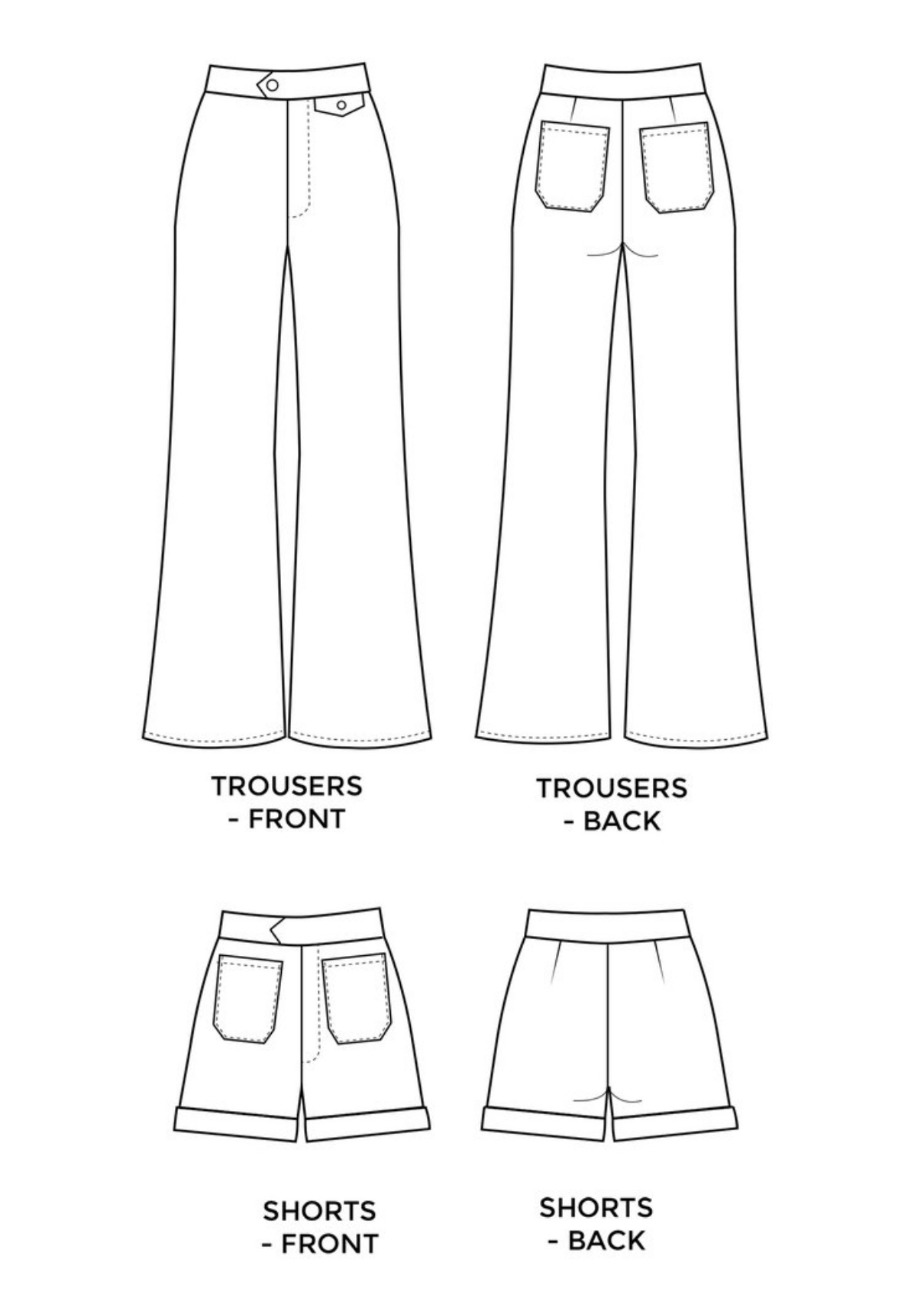 Jessa Trousers/Shorts sewing pattern from Tilly and the Buttons