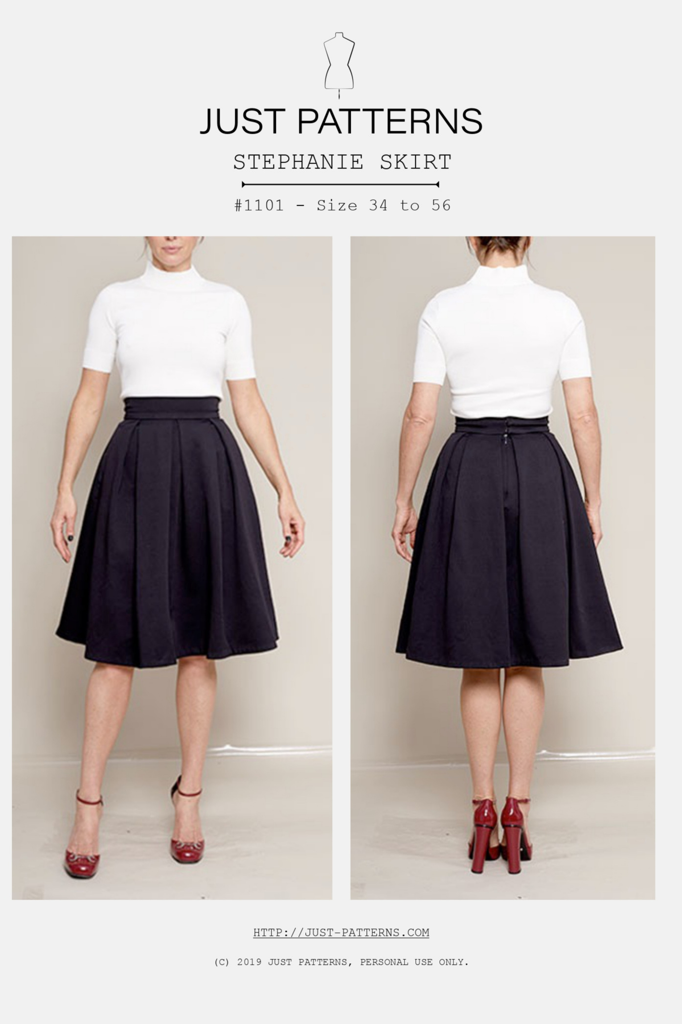 Stephanie Skirt sewing pattern from Just Patterns