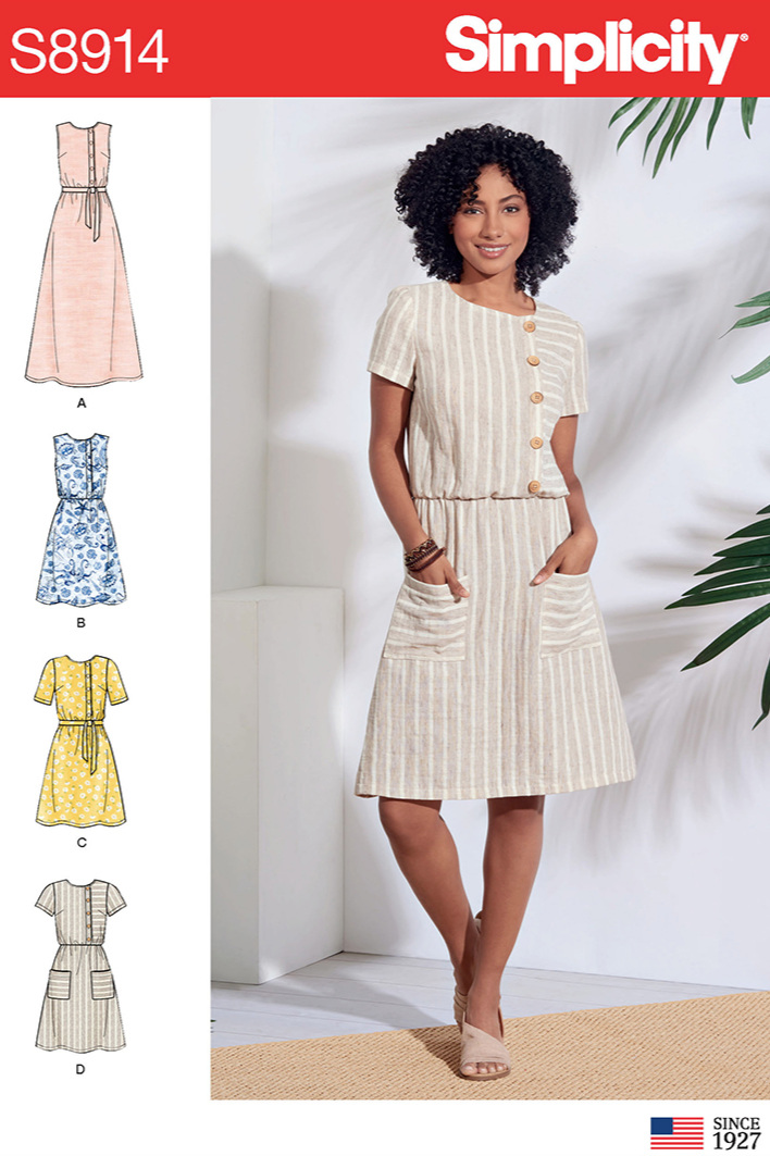 Simplicity 8914 elasticated waist dres sewing pattern