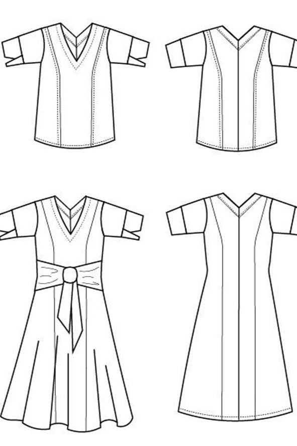 Nizar Dress and Top sewing pattern from DG Patterns