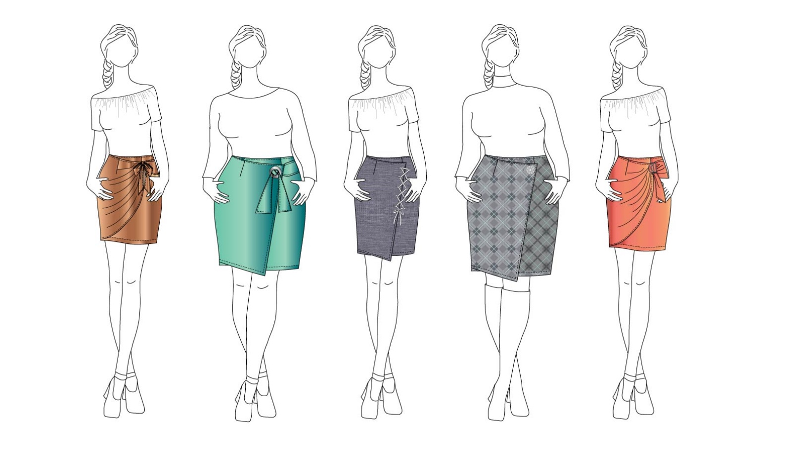 Allie Wrap Skirt sewing pattern by Designer Stitch