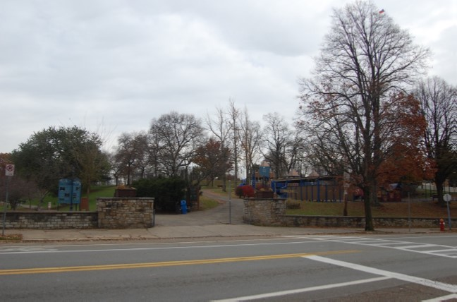 Riverview entrance and Blue Slide Playground off of Beechwood Boulevard
