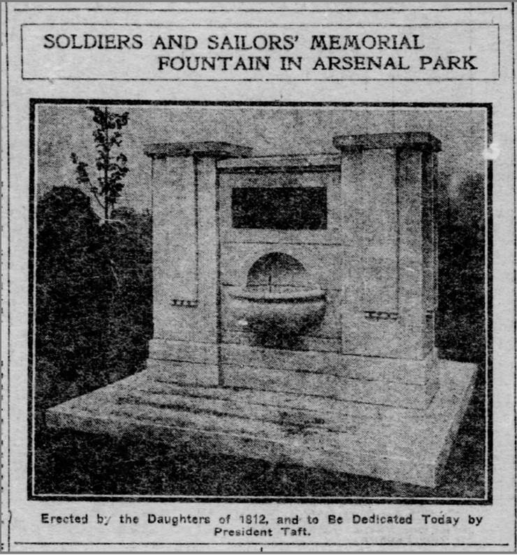 """""""Soldiers and Sailors Memorial Fountain in Arsenal Park"""",  Pittsburgh Post-Gazette , May 29, 1909"""