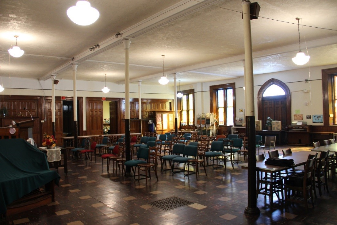 25 View northeast showing overview of 1st floor main Sunday school room.jpg