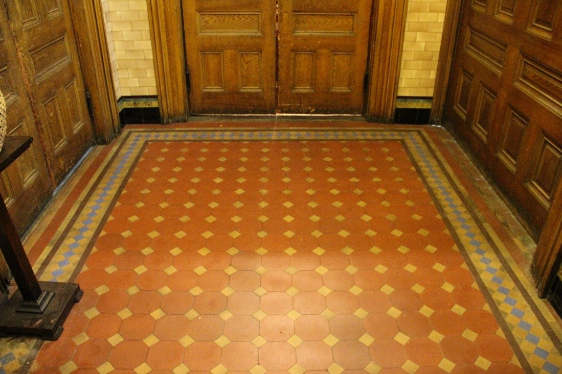 38 View facing west in central part of 1st floor narthex, showing detail of encaustic tile.jpg