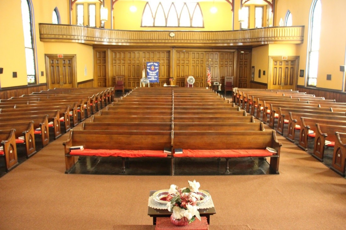 46  View north showing overview of sanctuary from elevated platform containing the pulpit and communion table..jpg