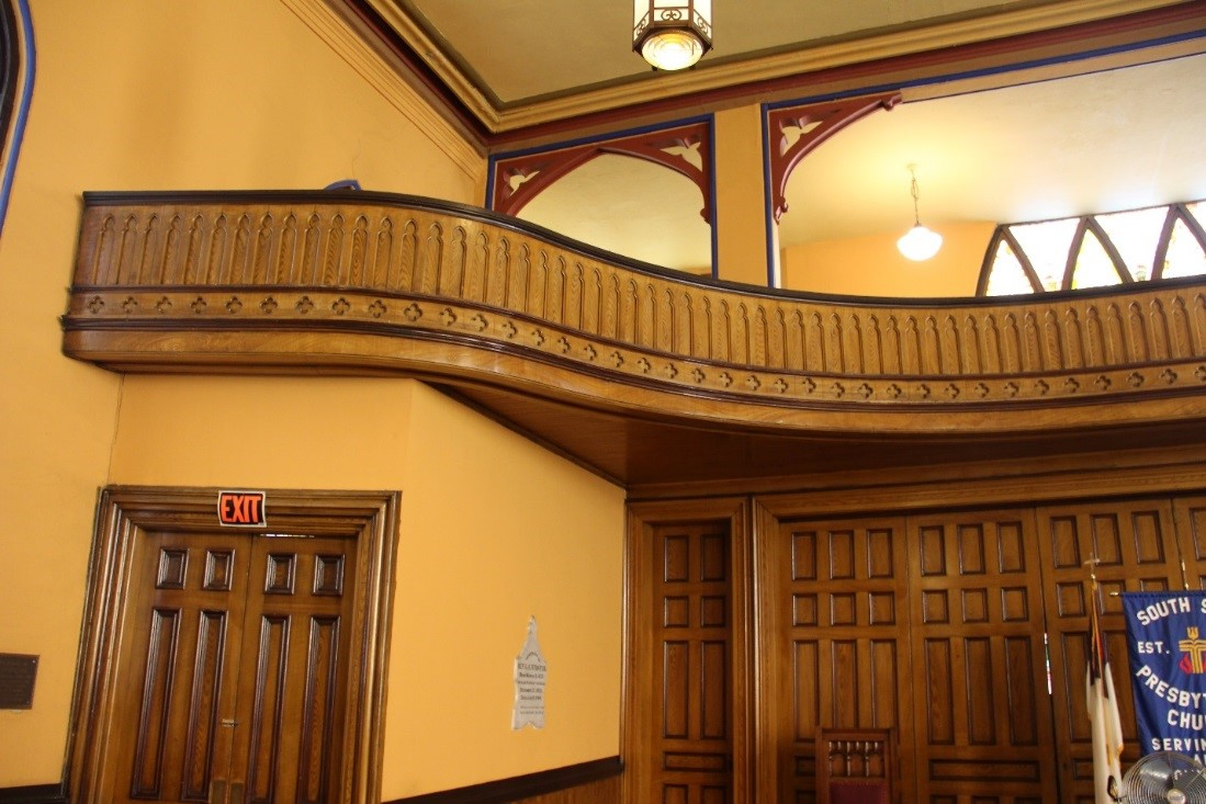 50 View north showing balcony details.  The at far left leads to stair accessing the narthex.jpg