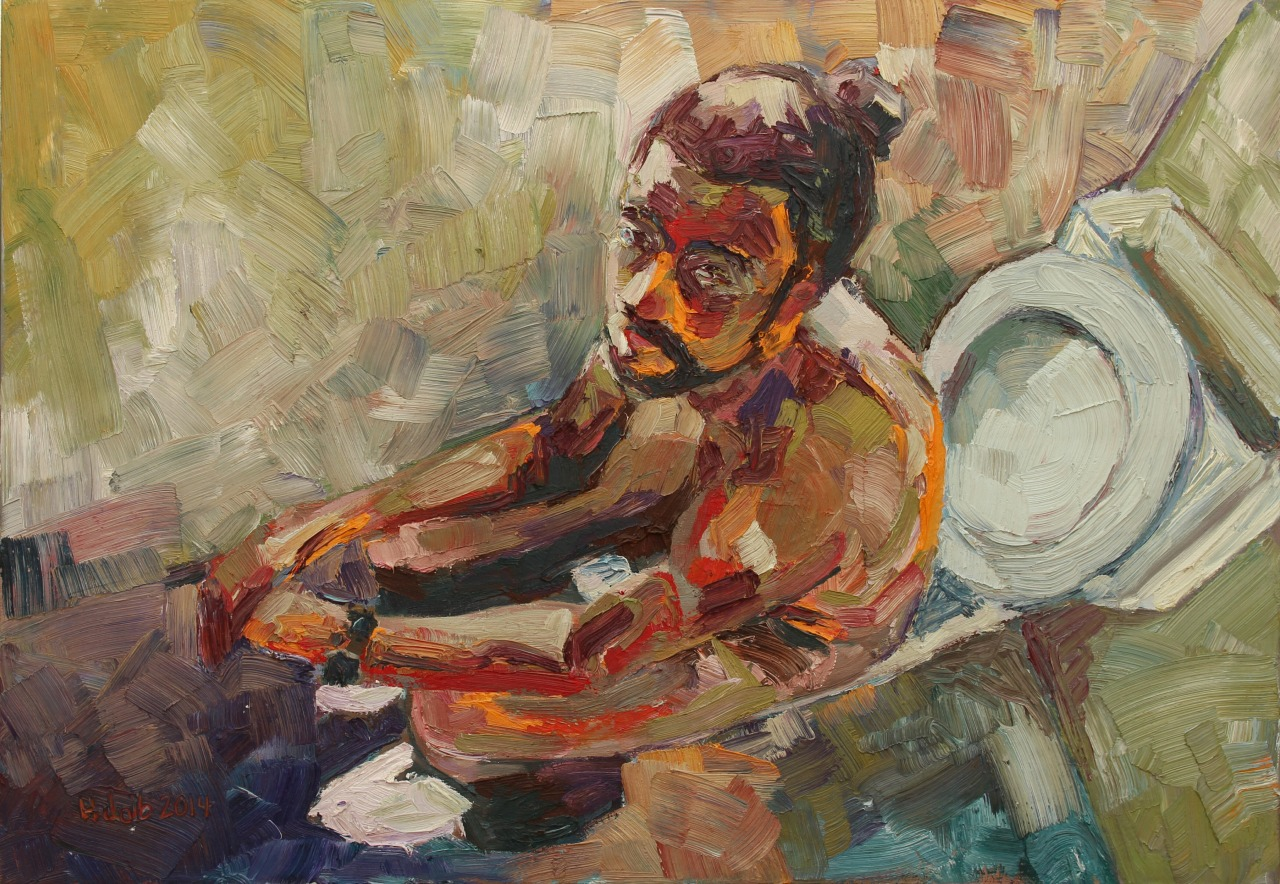 Self Portrait on a toilet, 120x90cm, oil on canvas, 2014.jpg