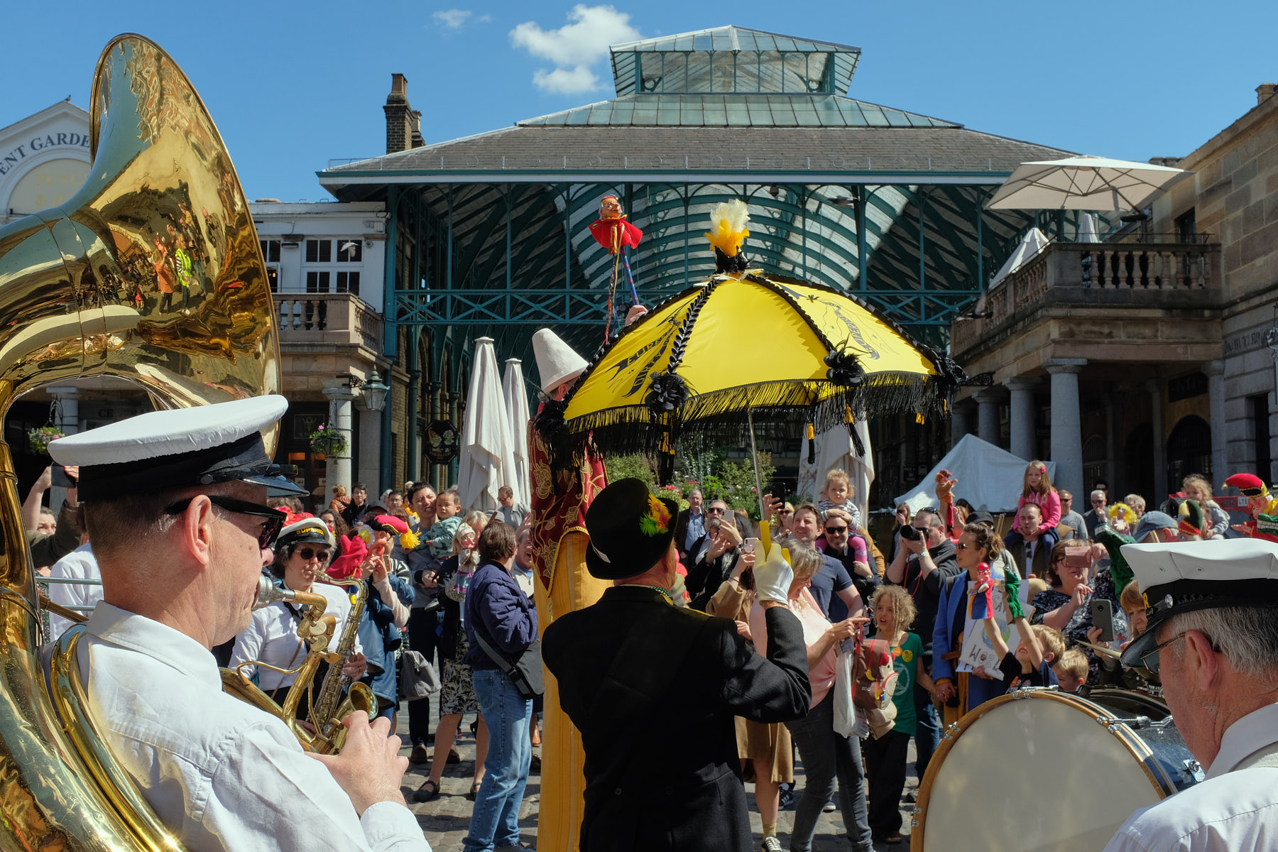 The Superior Brass Band hype the crowd on the Covent Garden Piazza.