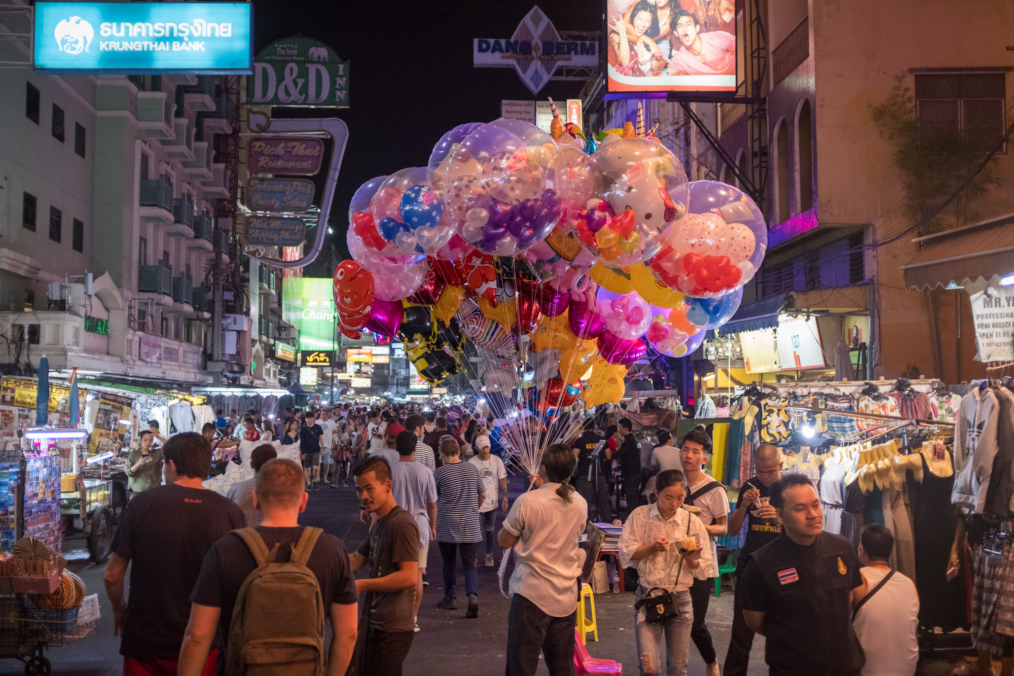 Something about balloons, I guess?   Honestly, I forgot to write a good caption for this one. Any suggestions feel free to email me.   - Khao San Road, Bangkok, Thailand