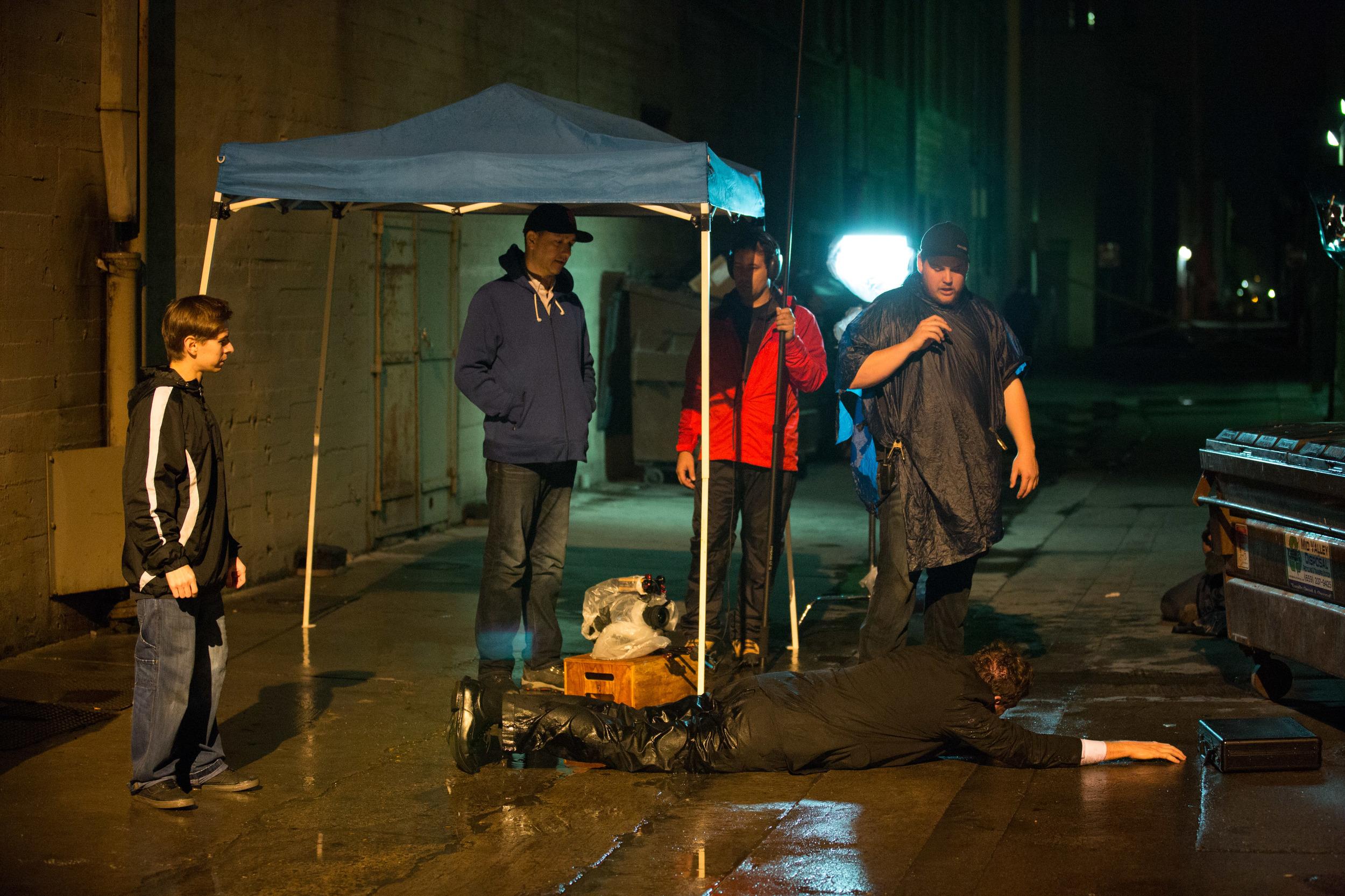 L-R: Chris Lofing (Co-Director), Enrique Meza (Camera Operator), Vincent Keenan (Sound Engineer), Kyle Gentz (Director of Photography), Steve Hrdlicka (Businessman). Photo by PJ Barlow.