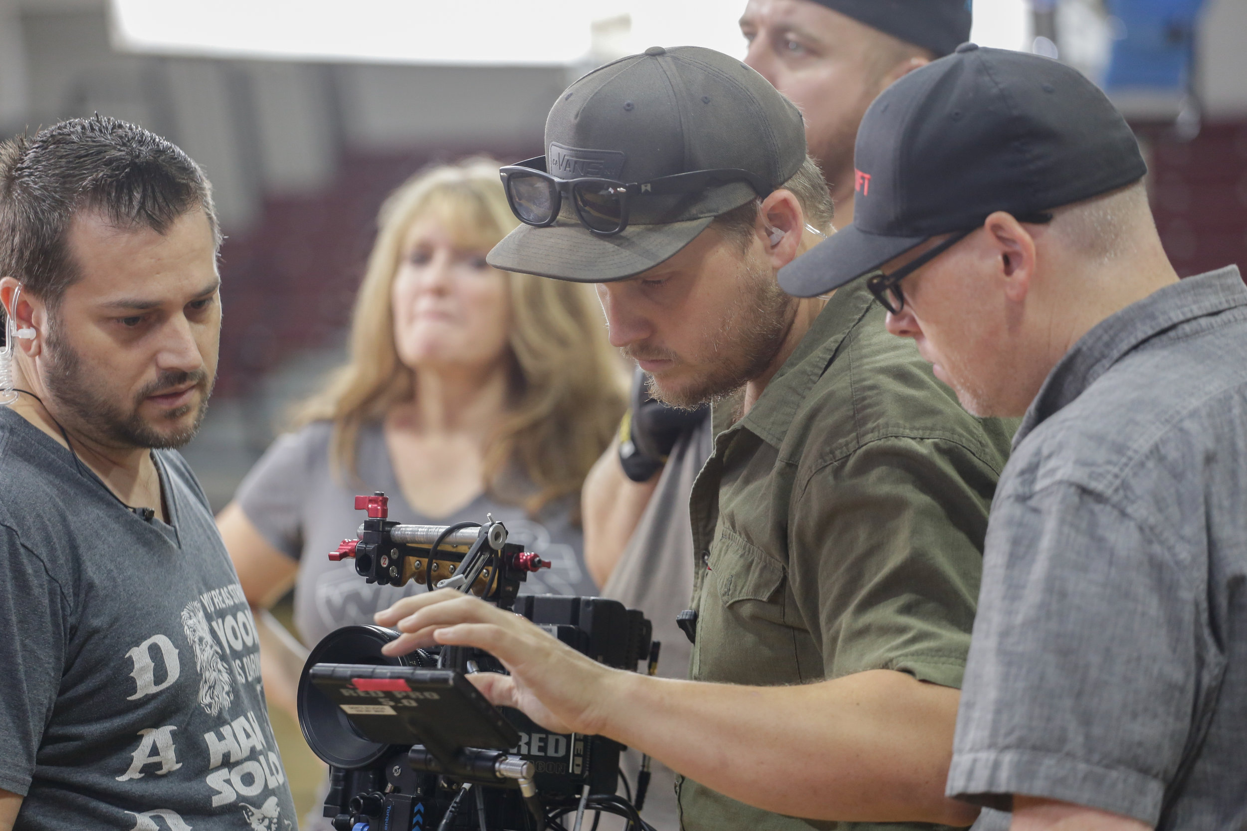 Director of Photography Kyle Gentz checks the frame while 1st A.C. Troy Ruff, Assistant Production Designer Renee Mason, and I stand by in awe of Kyle's finely trimmed nails. Photo Credit: Cody Allred