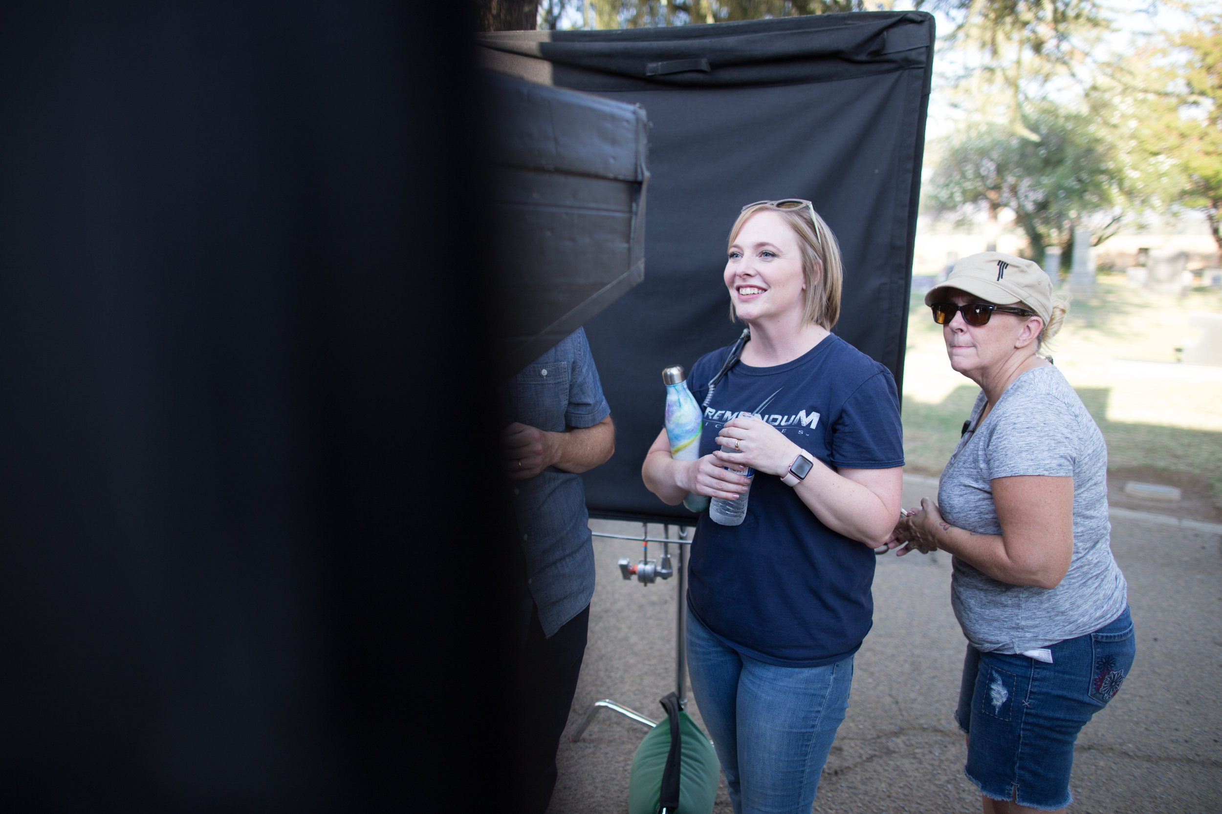 P.A. Erin Heasley watches monitor with much happiness as Wardrobe Supervisor Trina Short looks on. Whatever's on screen, it's  delightful.  Photo Credit: Cody Allred