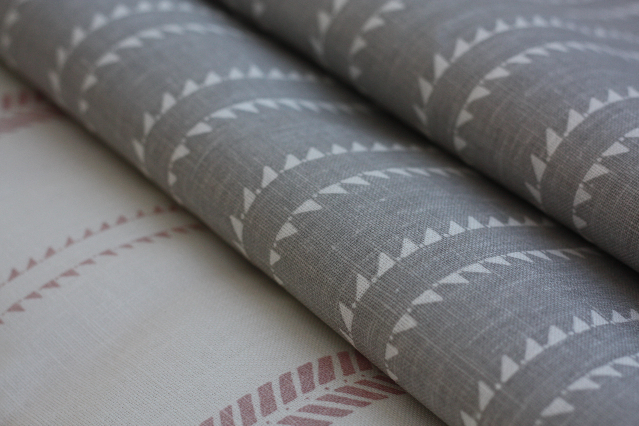 WINDMILL WOOD IN ROCK GREY, SLADE STRIPE IN PETAL PINK LINEN FABRIC