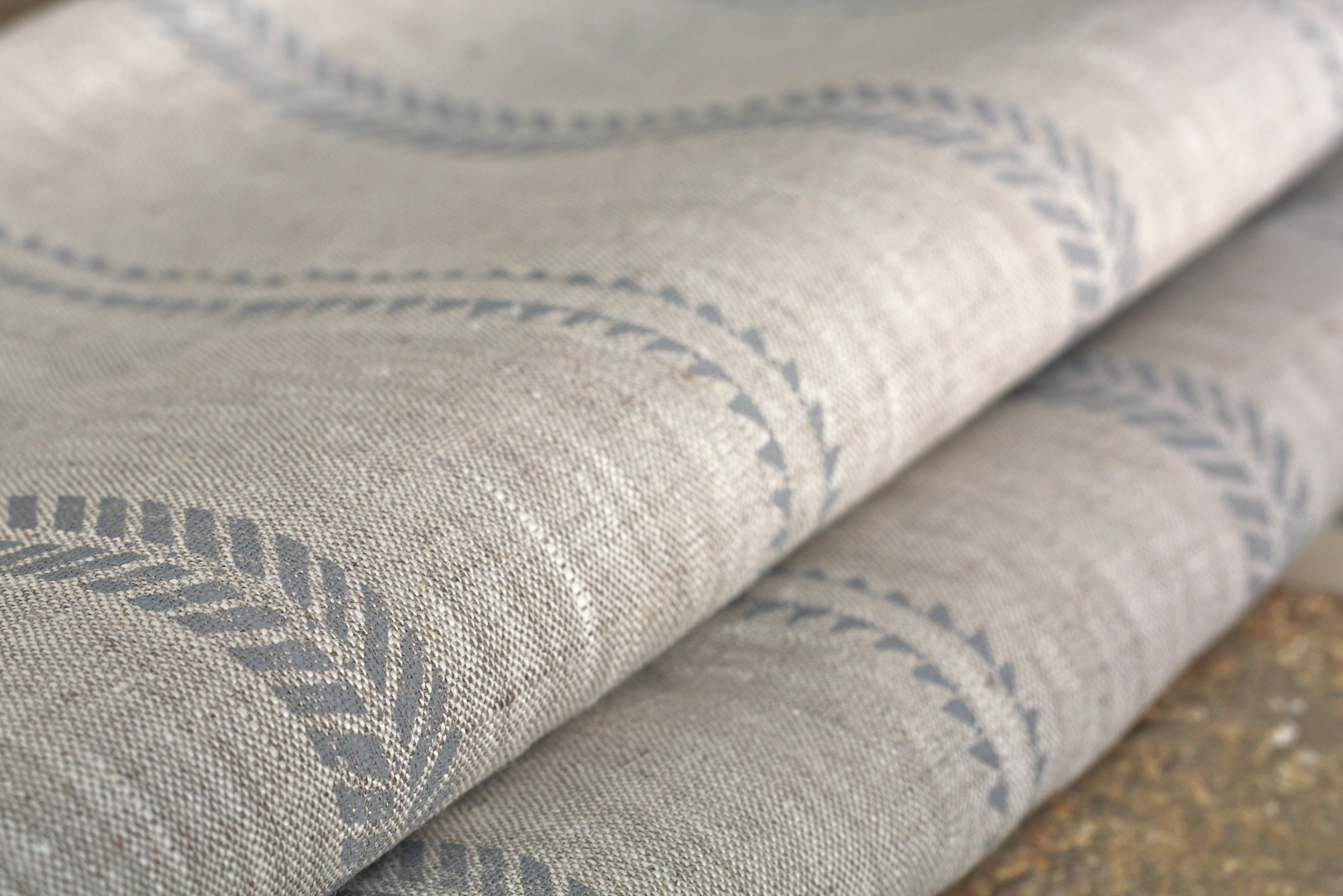 SLADE STRIPE DEW ON NATURAL LINEN
