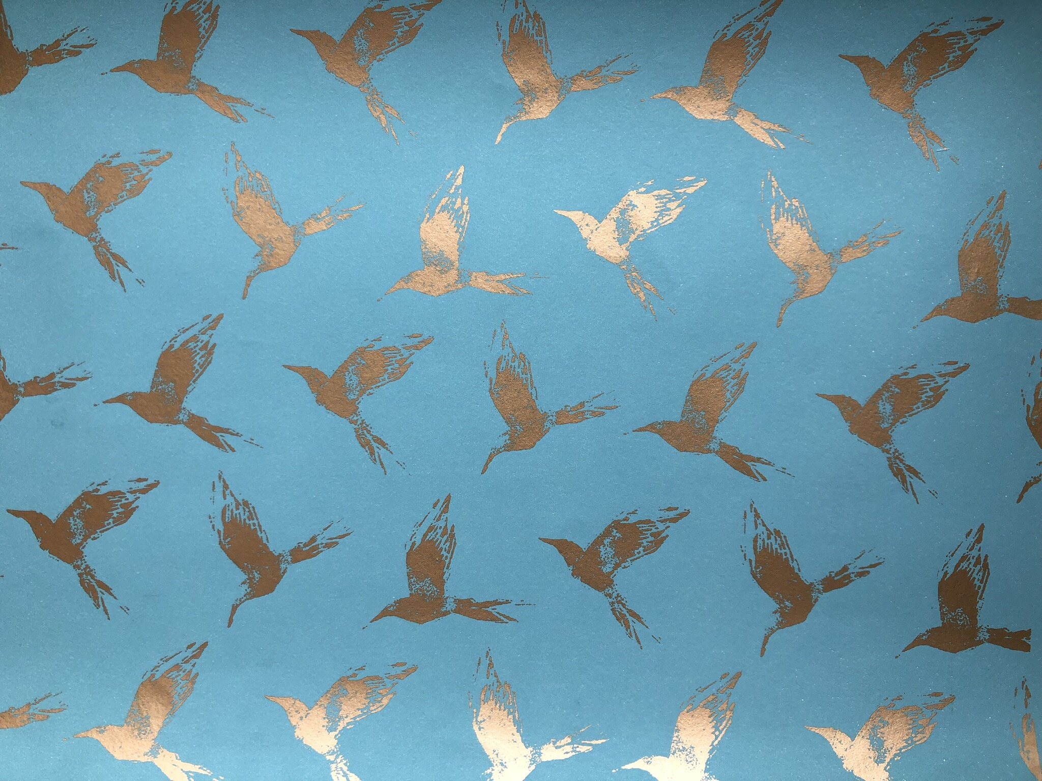 Bollin Bird Wallpaper Gold and Med