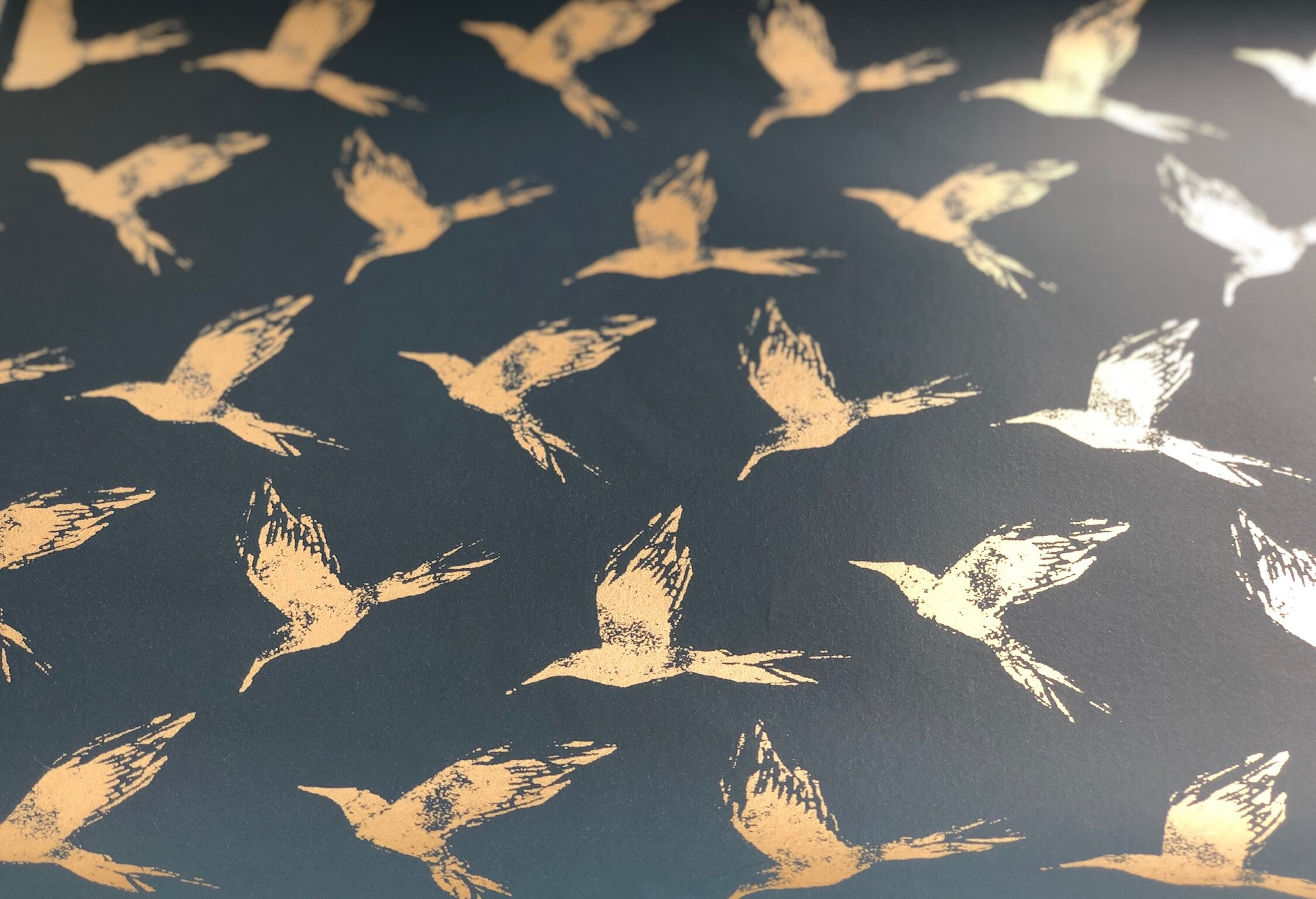 Bollin Bird Wallpaper Gold and Deep Ocean