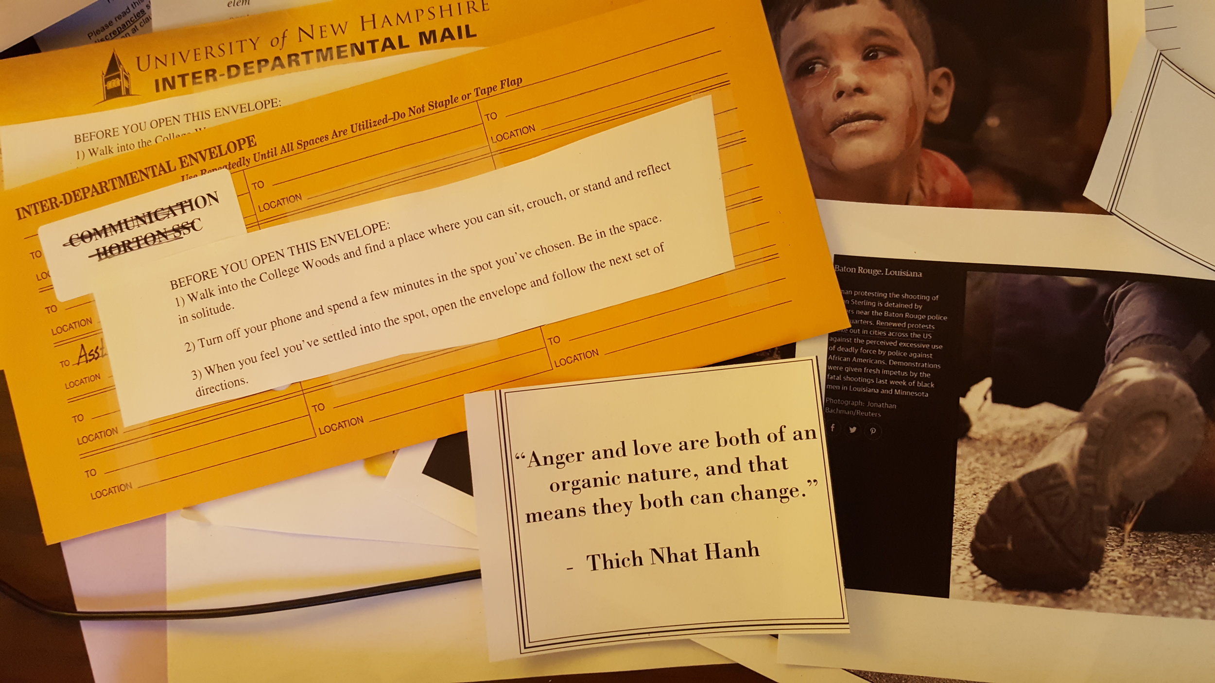 Figure 2: Envelopes containing images and instructions. Photograph by author.
