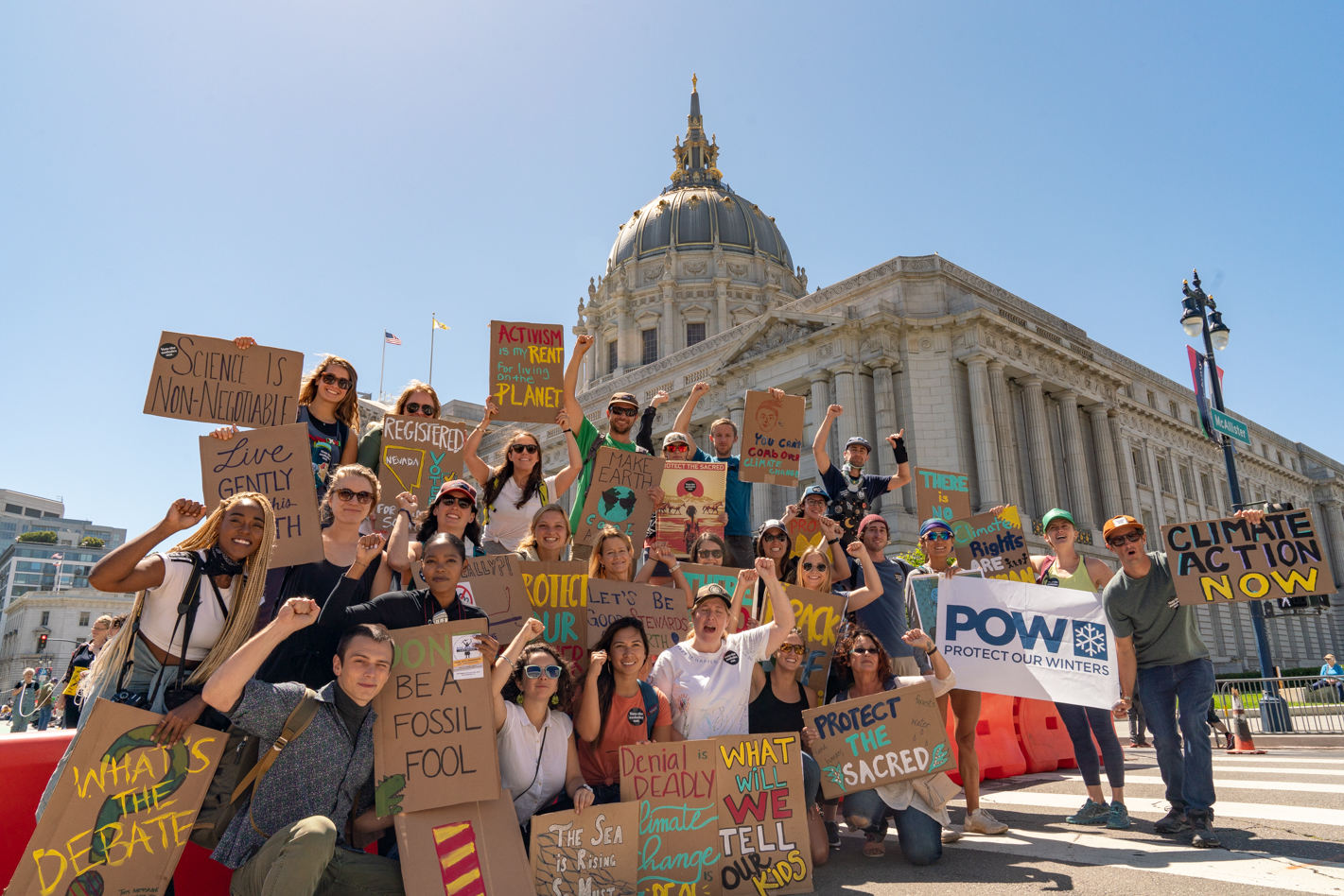 Photos from the Rise for Climate March in San Francisco, CA, including Patagonia Ambassadors Clare, Forrest, Kitty and Tommy.
