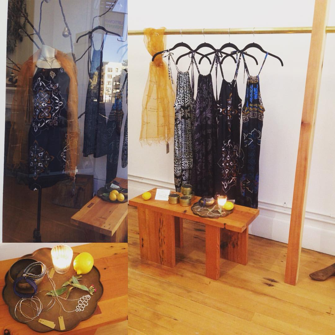"""The perfect New Years Dress will take you from NY'sEve party, to bed ( who doesn't sleep in silk slips?) to the beach on New Year's Day!!! @kosa_arts along with silver necklaces from @doriemeister , beaded bracelets from@annemariefoley ,silk """"string theory"""" scarves from @indigohandloom !!! #bohemian #luxe #calistyle #kosa_arts #oakland #indigohandloom #dreimeister #beadwork #silk #handloom #happynewyear  (at KOSA ARTS)"""
