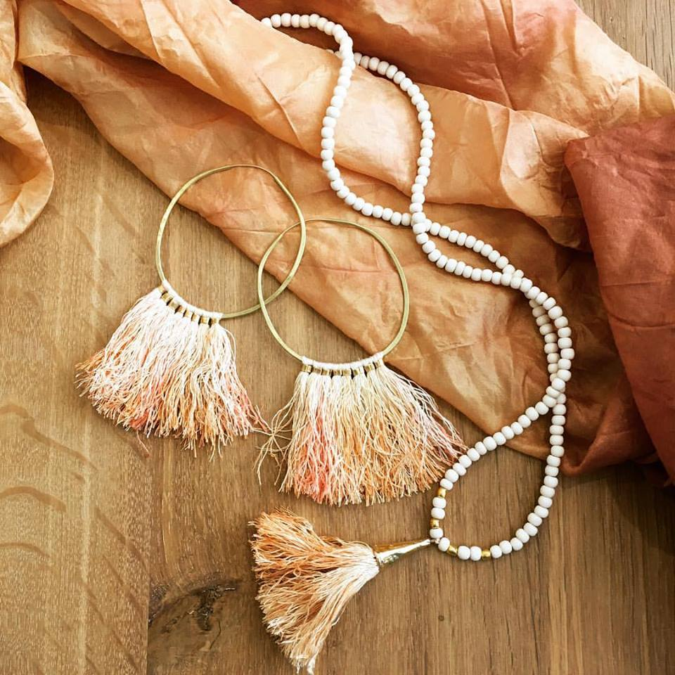 Silk Fringe Necklace and Hoops