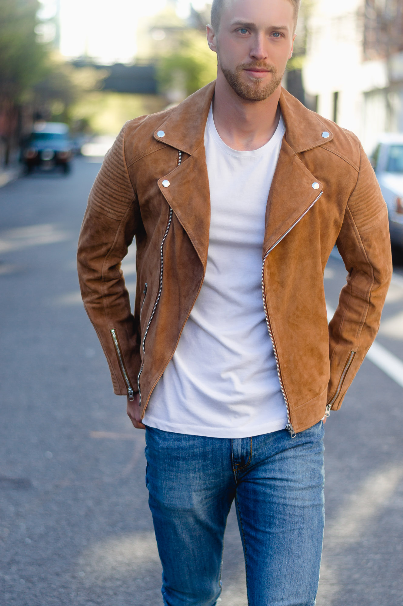 ASOS Suede Biker Jacket With Quilting In Tan the cuff