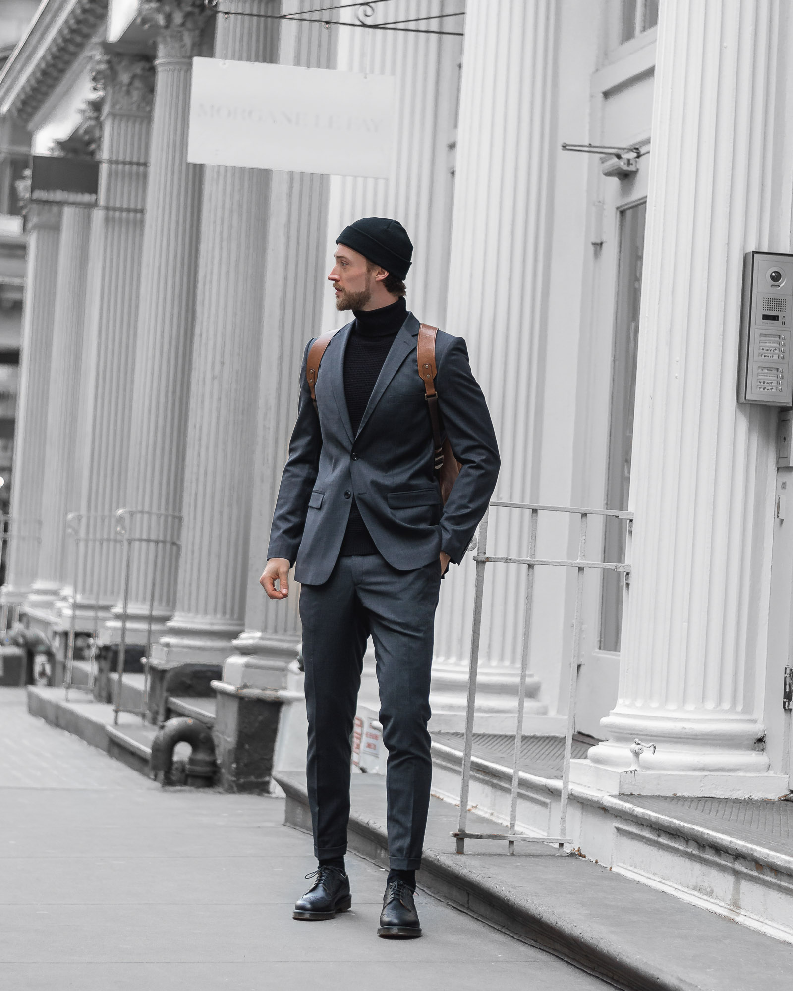 the cuff ben brewster suit beanie soho manhattan