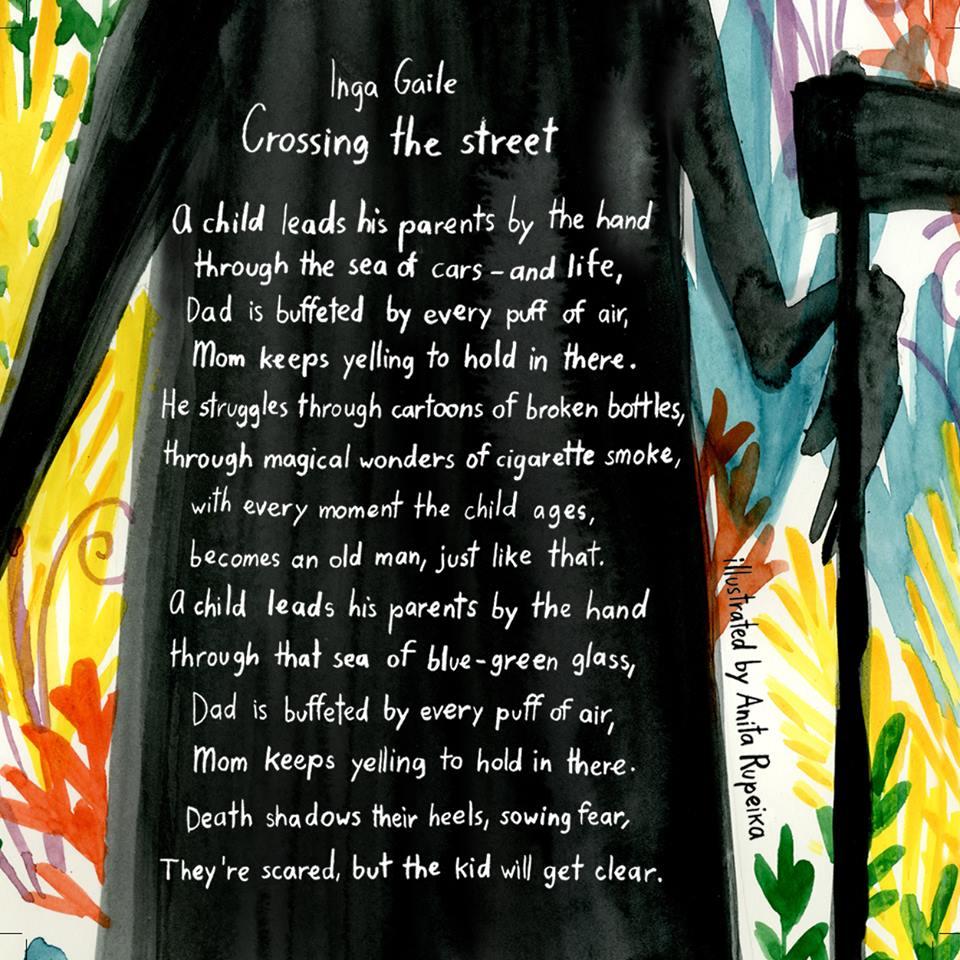 """Inga Gaile """"Crossing the street"""", Anitas Rupeikas ilustrācija"""